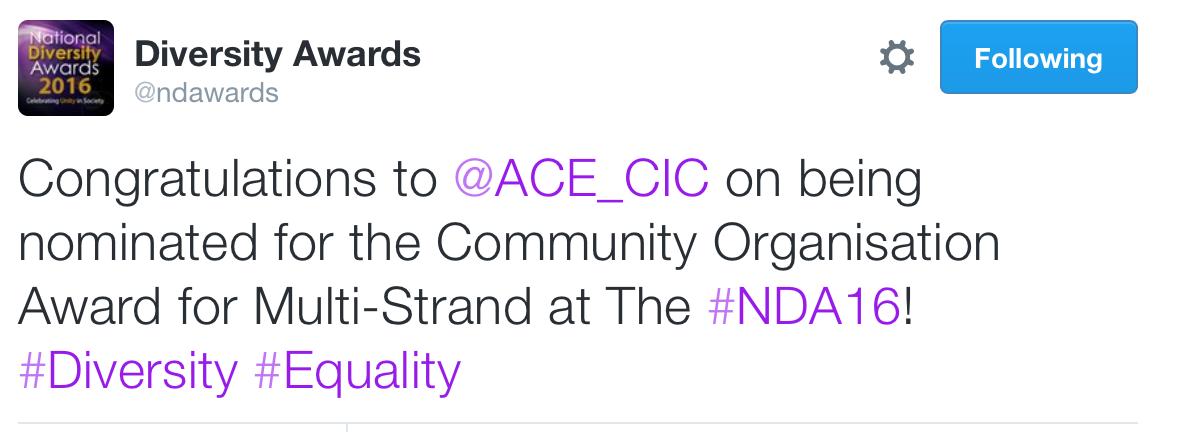 National Diversity Award 2016. Community,